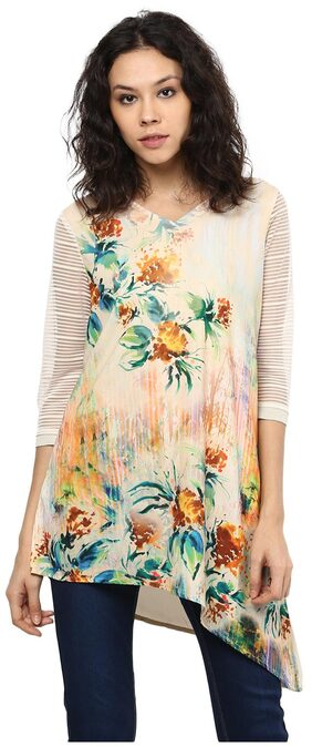 Flower Printed Self Design Tunic