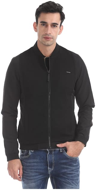 Flying Machine Men Black Solid Bomber jacket - Black
