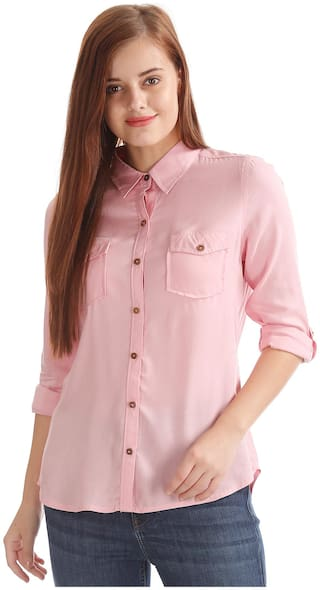 Flying Machine Women Pink Solid Slim Fit Shirt
