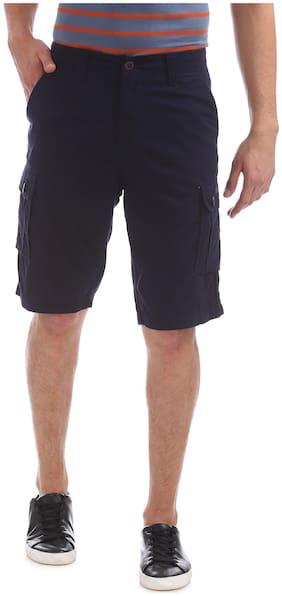 Flying Machine Men Cotton Shorts - Blue