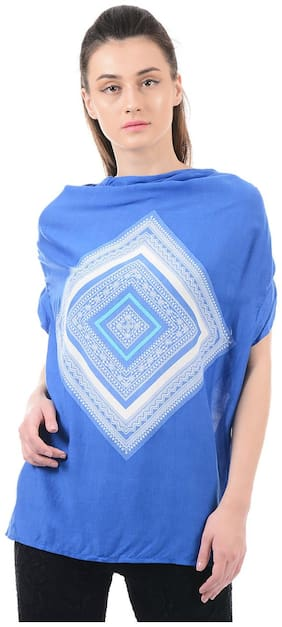 Flying Machine Women Cotton Printed - A-line Top Blue