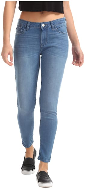 Flying Machine Women Super Skinny Fit Mid Rise Solid Jeans - Blue