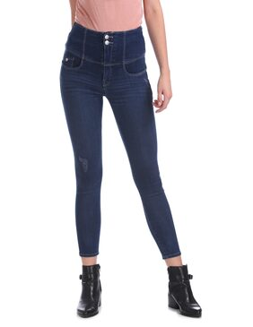 Flying Machine Women Skinny Fit Mid Rise Washed Jeans - Blue