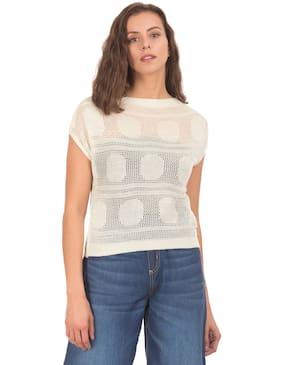 Flying Machine Women Polyester Printed - Regular top White