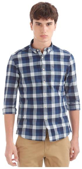 Flying Machine Blue Cotton Button Down Collar Check Shirt