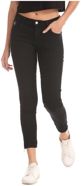 Flying Machine Women Skinny Fit Mid Rise Solid Jeans - Black