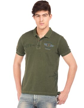 Flying Machine Men Regular Fit Polo Neck Printed T-Shirt - Green