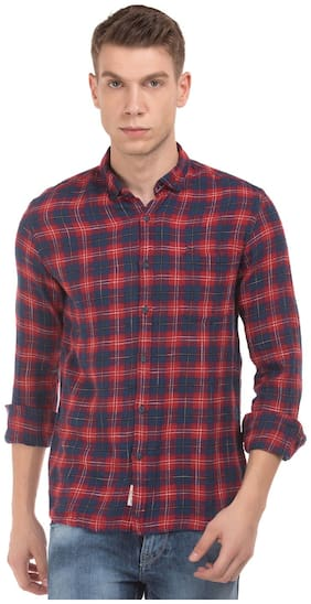 Flying Machine Red Cotton Button Down Check Shirt