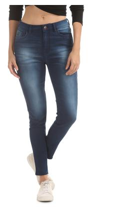 Flying Machine Women Blue Cotton High Rise Skinny Fit Jeans