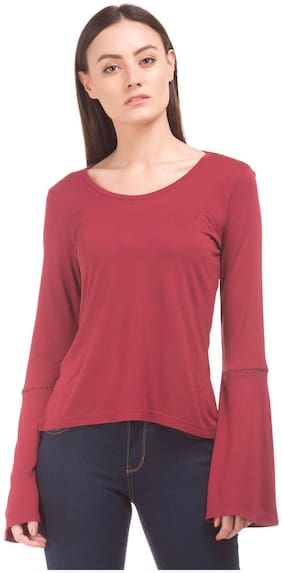 Flying Machine Red Viscose Bell Sleeve Knit Top