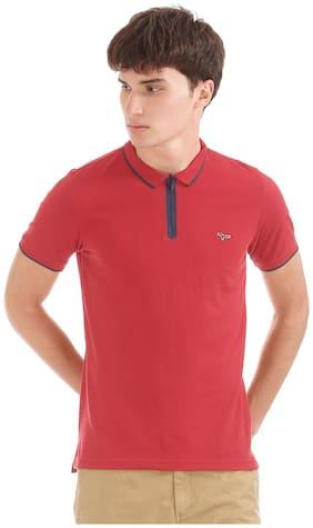 Flying Machine Men's Regular Fit Solid T-Shirt - Red