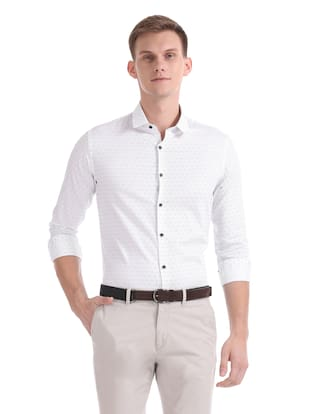 Flying Machine Men Regular Fit Casual shirt - White