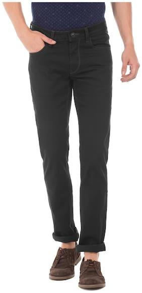 Flying Machine Black Cotton Mid Rise Dark Wash Slim Tapered Jeans