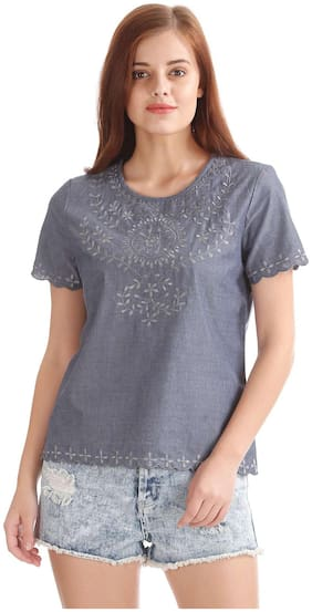 Flying Machine Women Blended Solid - A-line Top Blue