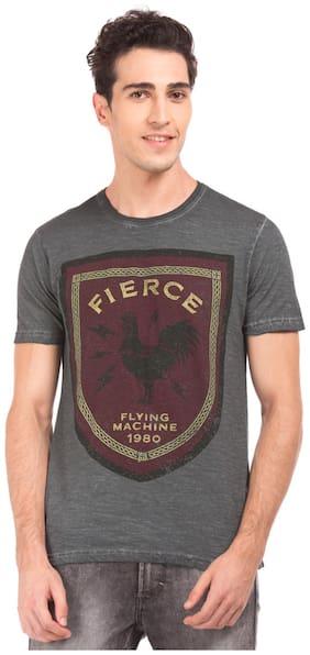 Flying Machine Men's Round Neck T-Shirt - Grey