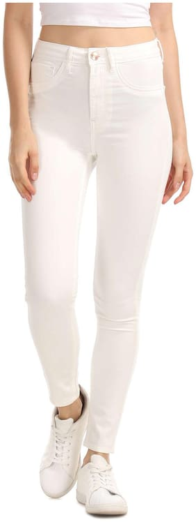 Flying Machine Women Regular Fit Mid Rise Solid Jegging - White