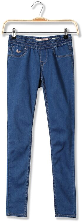 Flying Machine Women Regular Fit Mid Rise Solid Jegging - Blue