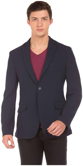 Flying Machine Blue Cotton Single Breasted Textured Blazer