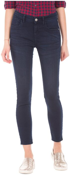 Flying Machine Women Super Skinny Fit Mid Rise Washed Jeans - Blue