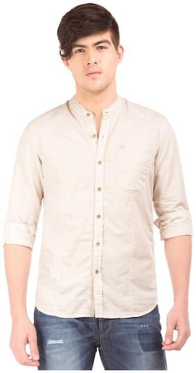 Flying Machine Men Slim Fit Casual shirt - Beige