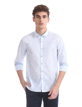 Flying Machine Men Regular Fit Casual shirt - White