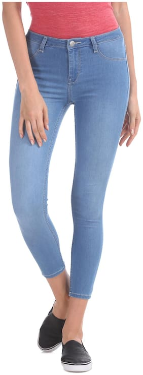Flying Machine Women Skinny Fit Mid Rise Solid Jegging - Blue