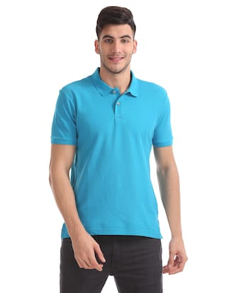 Flying Machine Men Slim Fit Polo Neck Solid T-Shirt - Blue