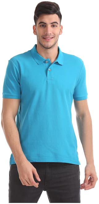 Flying Machine Men Blue Slim fit Cotton Polo neck T-Shirt - Pack Of 1