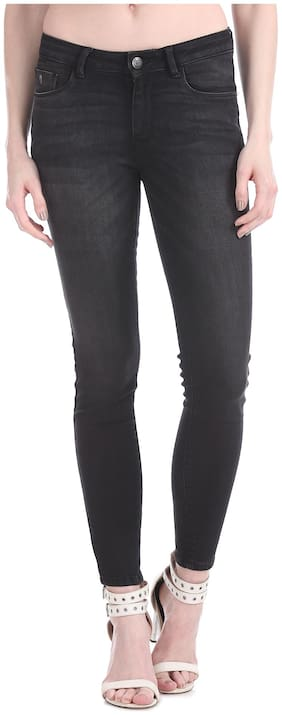 Flying Machine Women Super Skinny Fit Mid Rise Solid Jeans - Black