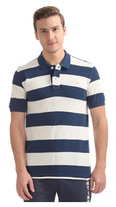 Flying Machine Blue Cotton Striped Pique Polo Shirt