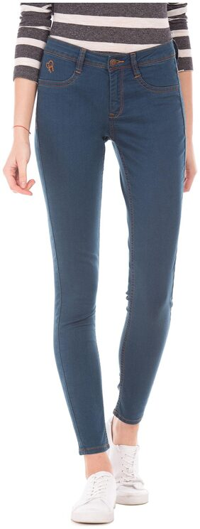 Flying Machine Women Slim Fit Mid Rise Washed Jegging - Blue