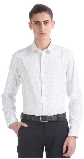 Flying Machine Men Slim Fit Casual shirt - White