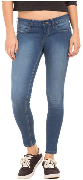 Flying Machine Women Regular Fit Mid Rise Solid Jeans - Blue