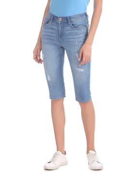 Flying Machine Women Solid Shorts - Blue
