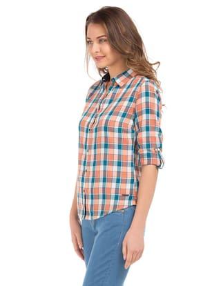 Regular Cotton Flying Fit Orange Check Shirt Machine q8q6Etrwz