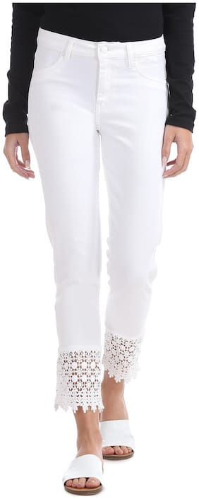 Flying Machine Women Super Skinny Fit Mid Rise Solid Jeans - White