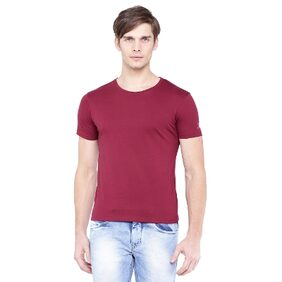 Flying Machine Men Wine Slim T-shirt