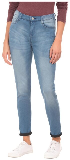 Flying Machine Women Skinny Fit High Rise Solid Jeans - Black