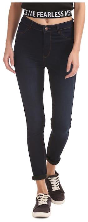 Flying Machine Women Blue Cotton High Rise Dark Wash Jeans