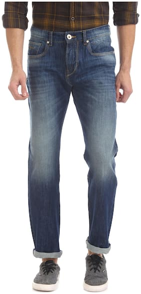 Men Straight Fit Mid Rise Jeans