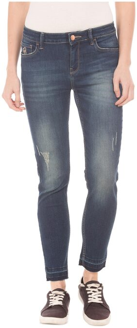 Flying Machine Women Skinny Fit Mid Rise Ripped Jeans - Blue
