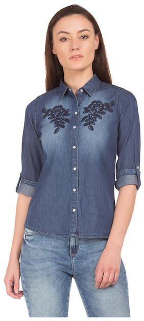 Flying Machine Embroidered Washed Denim Shirt