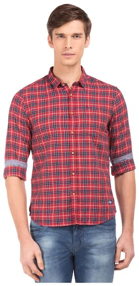 Flying Machine Men Slim Fit Casual shirt - Red