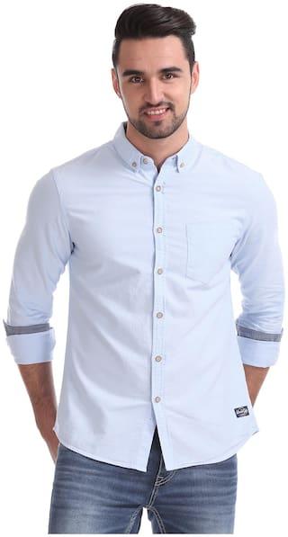 Flying Machine Men Blue Solid Slim Fit Casual Shirt