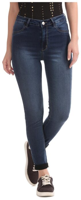 Flying Machine Women Blue Cotton High Rise Washed Jeans
