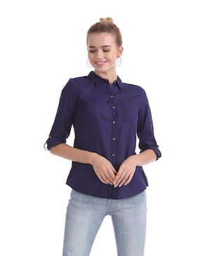 Flying Machine Women Regular Fit Solid Shirt - Blue