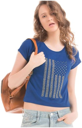 Flying Machine Women Rayon Solid - A-line Top Blue