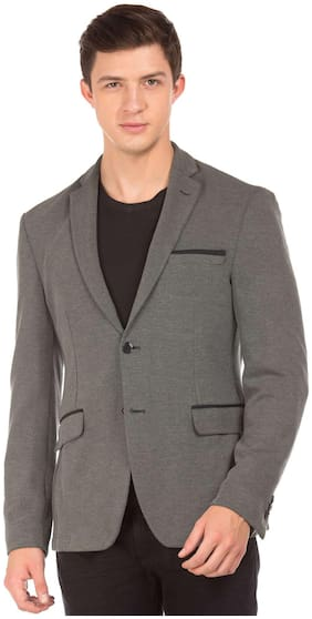 Flying Machine Grey Cotton Single Breasted Heathered Blazer