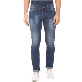 Flying Machine Blue Cotton Mid Rise Stone Wash Slim Tapered Fit Jeans