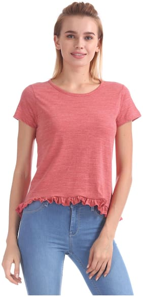 Flying Machine Women Cotton Solid - Regular Top Red